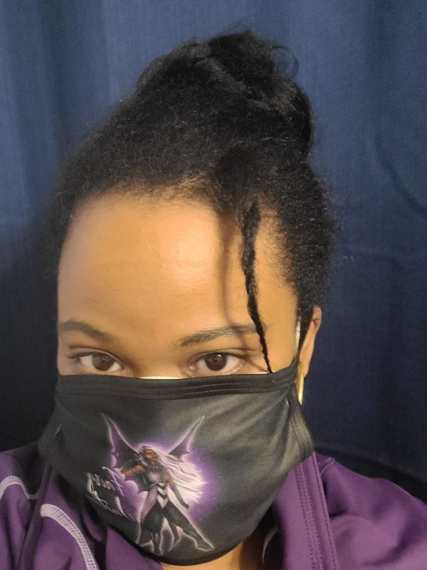 African American Woman Wearing Fairy Justice Face Mask from Alicia McCalla's Emporium